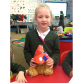 We made hats for the bear because he lost his!