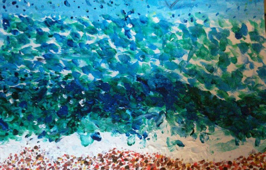 Keira's seascape, inspired by Seurat and Van Gogh