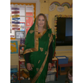 Mrs Walker in a sari