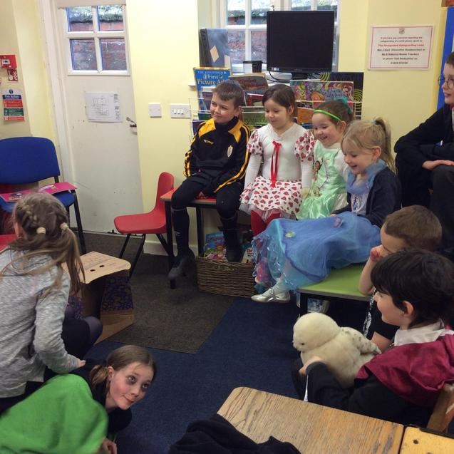 Listening to Y6 present their favourite stories