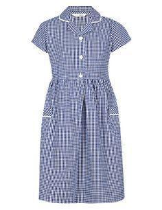 Checked summer dress BLUE & WHITE