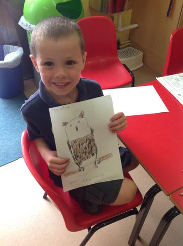 Finley spent ages drawing his owl.