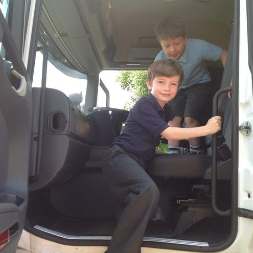 We all got to sit in the lorry`s cab