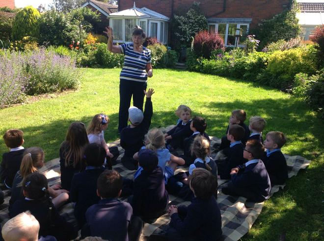 Mrs Hollings welcomes us to her beautiful garden.