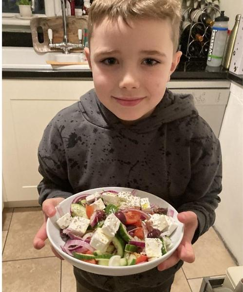 Finlay is making a delicious Greek Salad