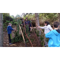Shelter building.  Working together!