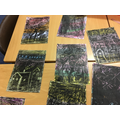 Firework scenes using wax crayons and scraper art