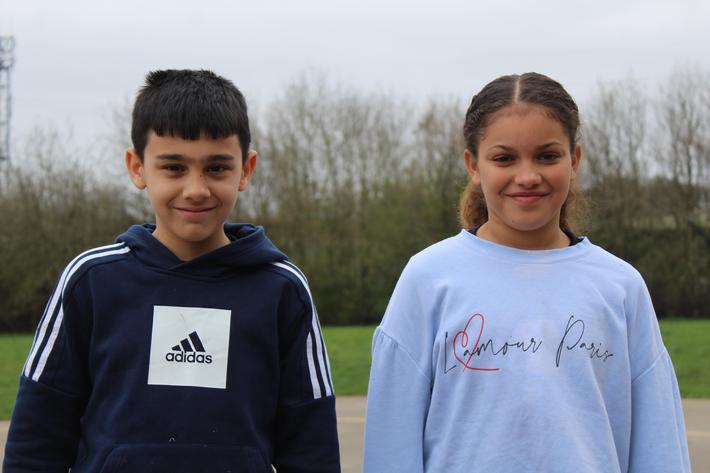 Year 6 Pupils of the term. Kamran and Eva