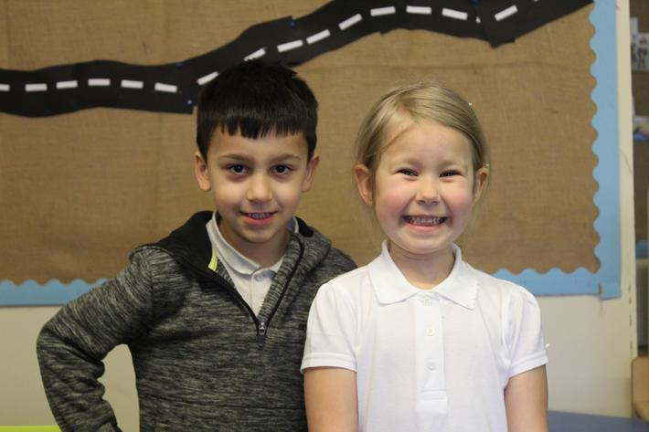 Reception Pupils of the term. Kasim and Daniele