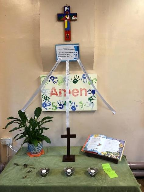 We have our Worship table in the hall for our shared Worship time.
