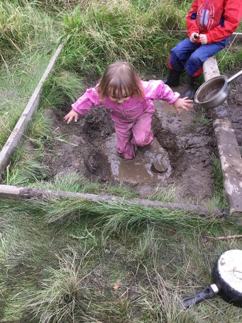 Loving a muddy puddle.
