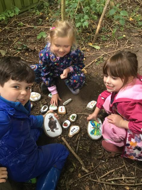 Discovering the Gruffalo and telling the story using the story stones.