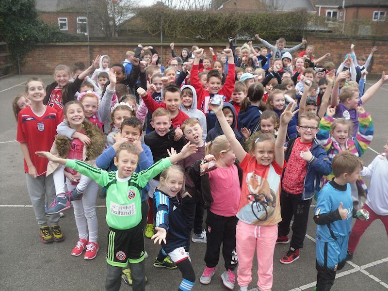 Upper school children in their sporty gear.