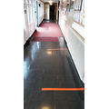 Social-distancing markers in corridors