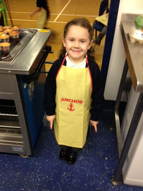 One of our young bakers ready for action!