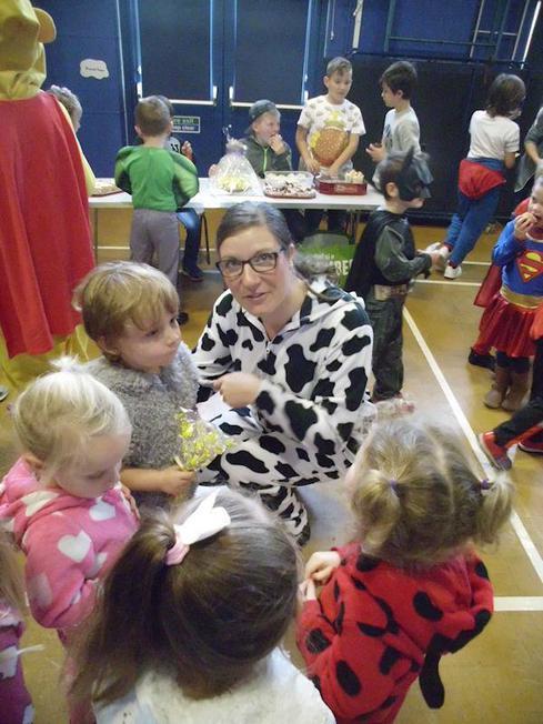 Mrs Gallen shows our younger children around.