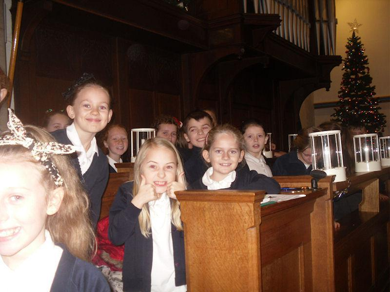 We sit in the choir stalls, ready for action!