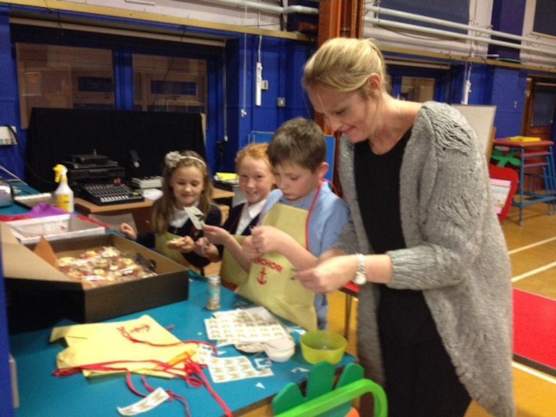 Miss Barton lends a helping hand.