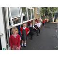 Brilliant social distancing when lining up Y1!