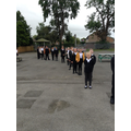 Y5 learning to socially distance when lining up.