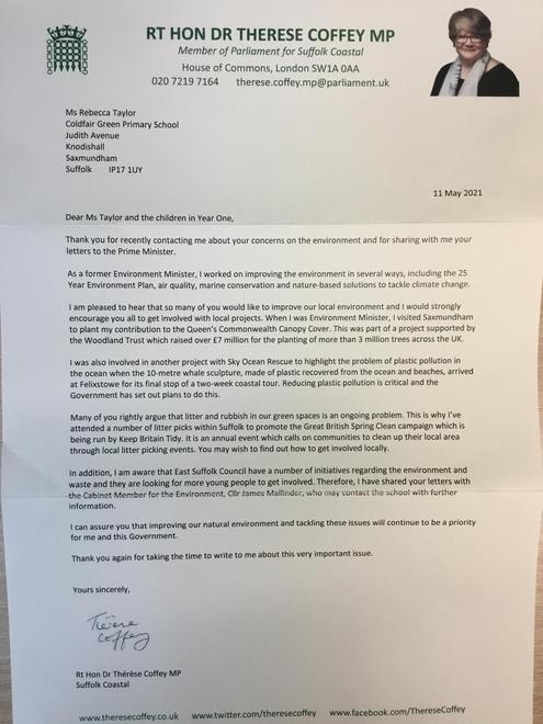 We had a response to our letters.