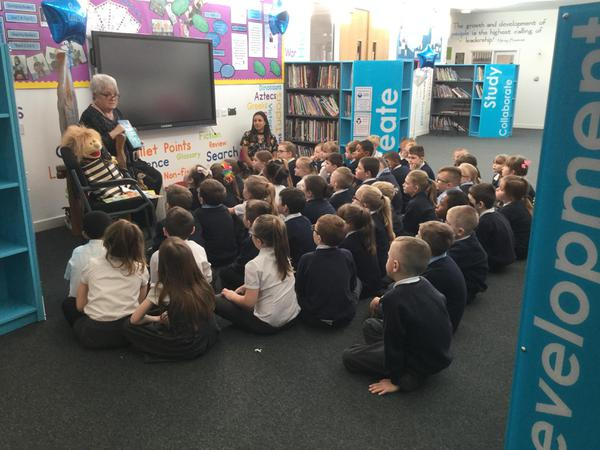 Year 3 meeting Ros Wilson at our school library launch on the 25th January 2017