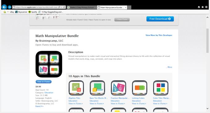 Maths manipulatives (bundle of 10 apps - £9.99)
