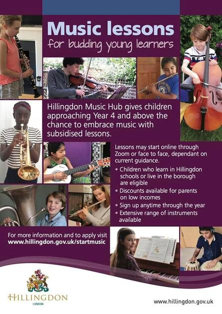 Children in Y4 and above can learn an instrument at school