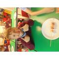 Jake with his fruit kebab