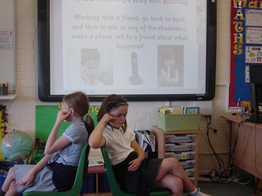 "Ring Ring...""Could you speak up please, the line is crackly!"" asked Jessica and Emily."