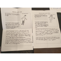 Noah's character profiles for his Lapbook