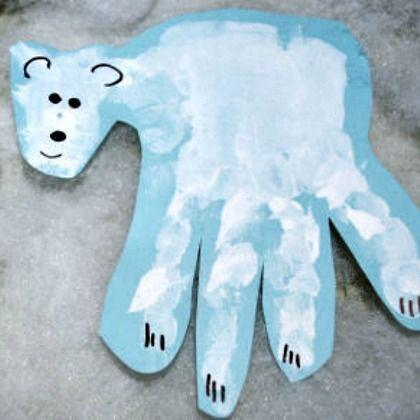 Make a hand print polar bear