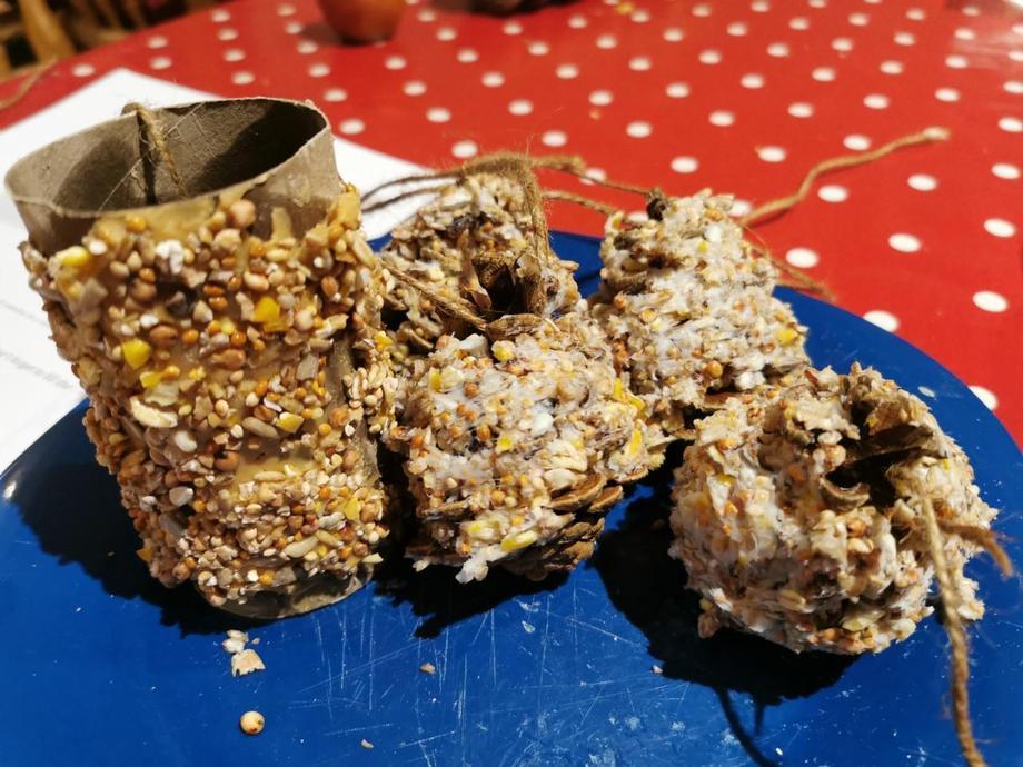 Peanut bird feeders made by Pippa - lucky birds !
