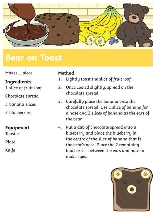 Can you follow the instructions to make a bear on toast?