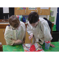 Cossie and Alfie Painting their Sculpture