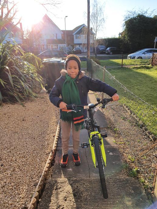 Mwamba has been riding his bike too.