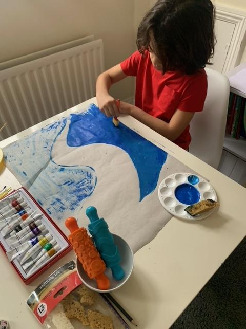 Flavio has been enjoying his painting inspired by 'Coming to England'.