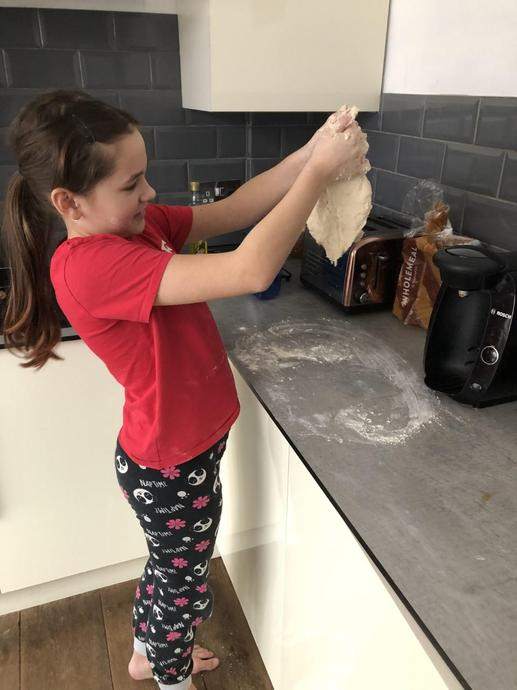 Kneeding dough is hard work, but worth it