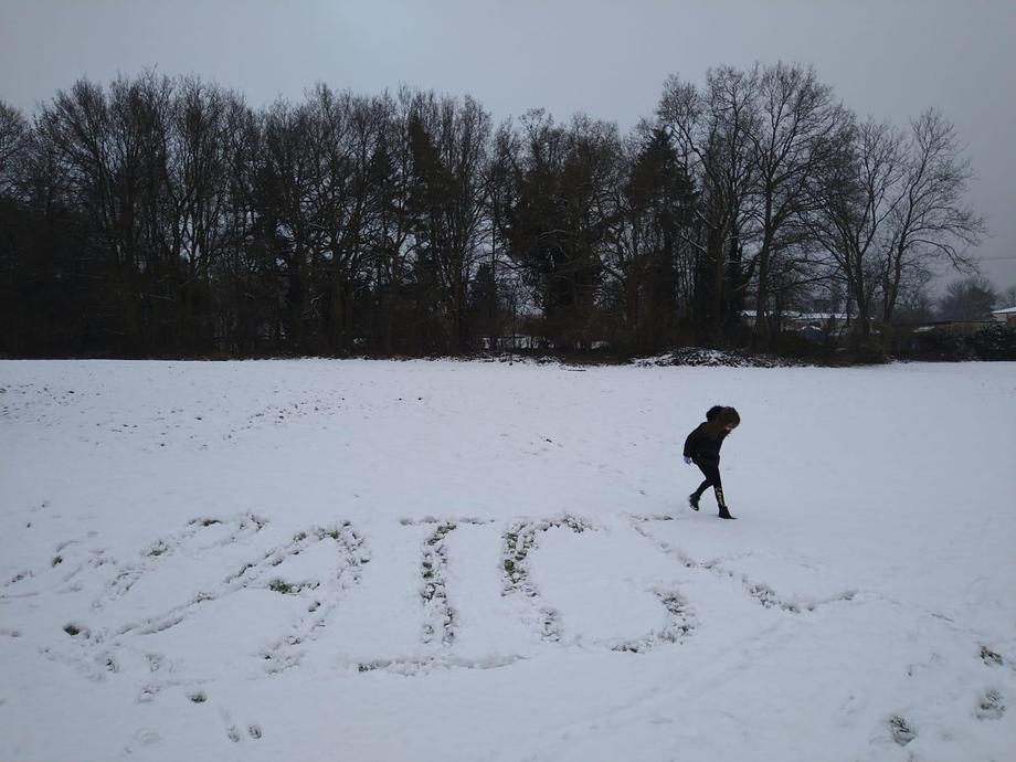 Paige has written her name in the snow. I wonder if it is still there!