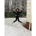Jumping for joy in the snow !