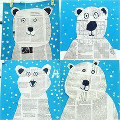 Practice cutting skills by making a polar bear from newspaper