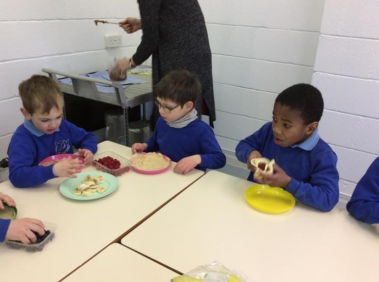 Choosing our fillings and eating our pancakes.