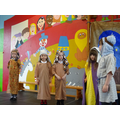 Mary and Joseph arrive at Bethlehem and try to find room at the inn
