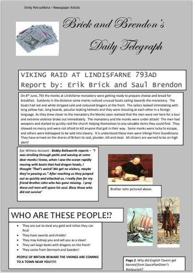 A great example of a newspaper report by Emily P