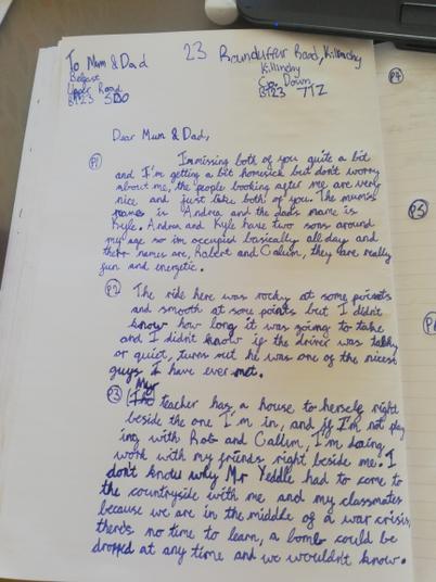 Harry evacuee letter 1