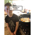 James making thai salmon noodles