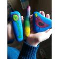 Noah did some fabulous pebble art!