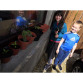 Dylan and Mia-Rose planting some veggies and herbs