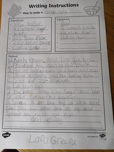 Lara's instructions on how to make Coffee cake