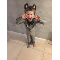 Rory dressed up as the wolf to catch the 3 pigs